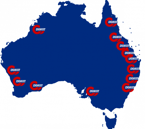 Map of Australia with ENDRUST logos representing locations