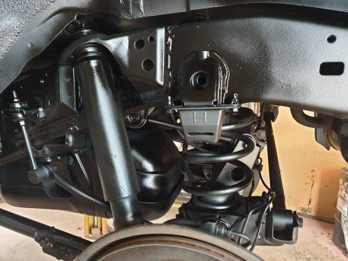 underbody of vehicle showing black rustproofing looking good